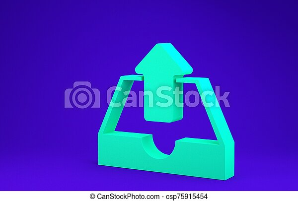 Green Upload inbox icon isolated on blue background. Minimalism concept. 3d illustration 3D render - csp75915454
