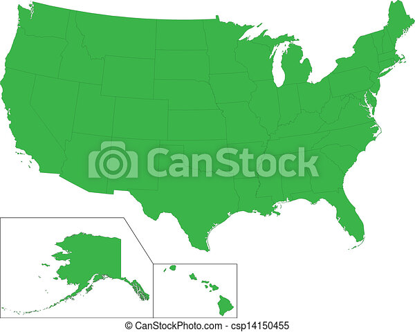 Green usa map. Green map of the united states of america with state ...