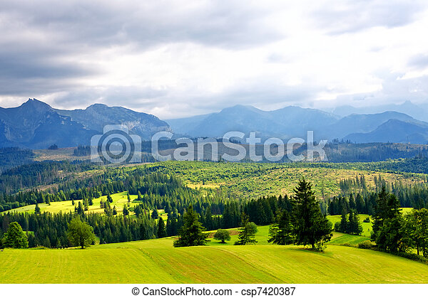 Green valley in the high mountains - csp7420387