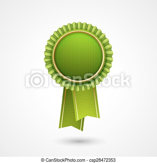 green vector award badge with ribbons eco labels bio template