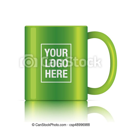 Green vector coffee mug template isolated on a white background ...