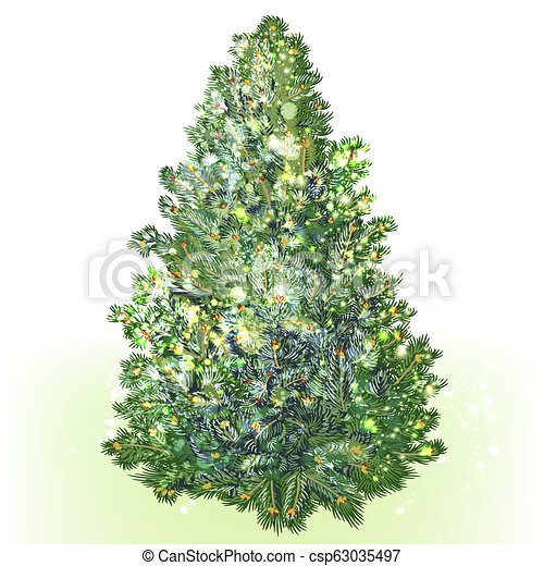 Green vector realistic Christmas tree isolated on white - csp63035497