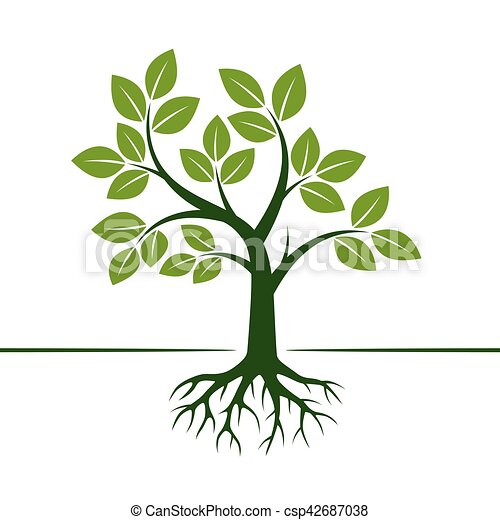 Green Vector Tree and Roots. Vector Illustration. - csp42687038