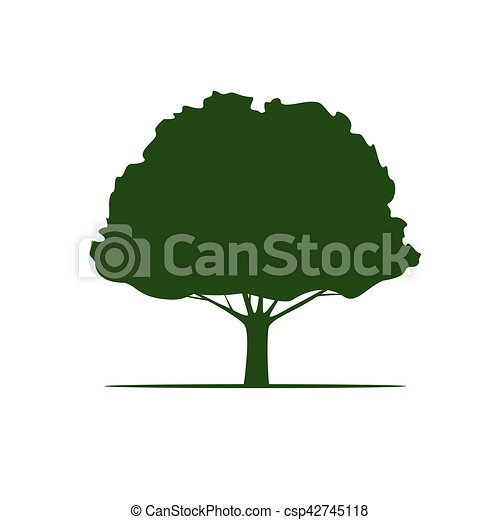 Green Vector Tree and Roots. Vector Illustration. - csp42745118