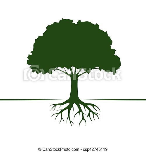Green Vector Tree and Roots. Vector Illustration. - csp42745119