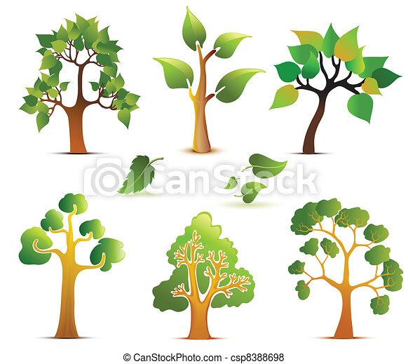 Green Vector Trees Set - csp8388698