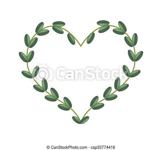 Green vine leaves in beautiful heart shape frame. Love ...