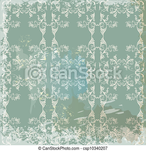 Green  vintage background  in scrapbook style - csp10340207