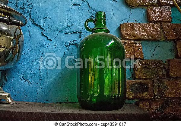 Green Vintage Bottle Empty Round Wine Or Beer