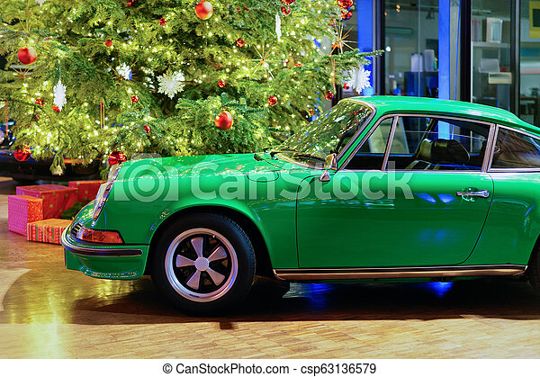 Green vintage classic car in Berlin - csp63136579