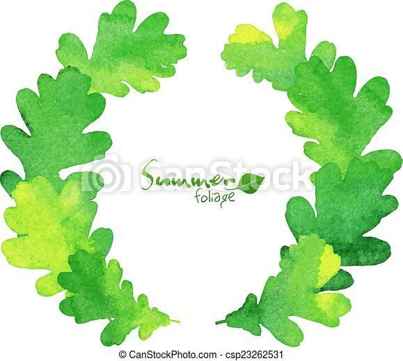 green watercolor oak leaves vector wreath green watercolor fresh