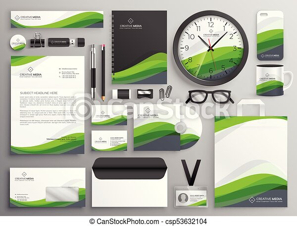 Green wavy business stationery set template design for your brand green wavy business stationery set template design for your brand csp53632104 accmission Image collections