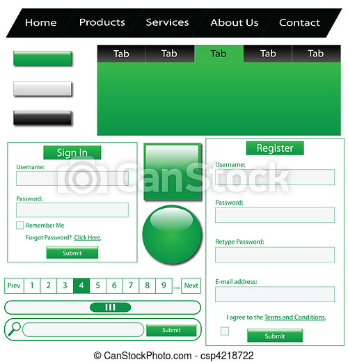 Green Web Elements  - csp4218722
