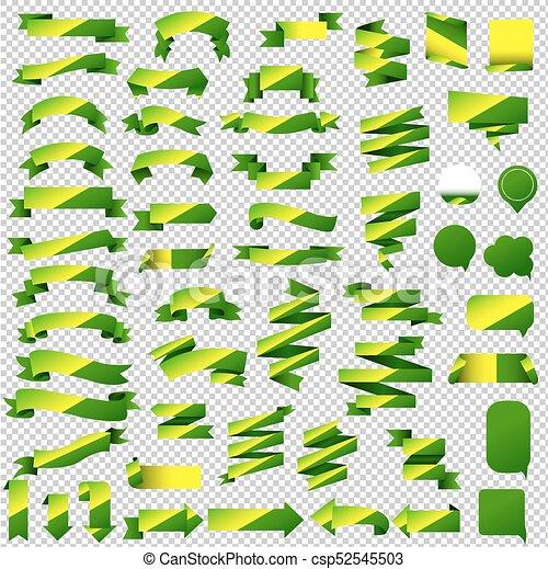Green Web Ribbon Set - csp52545503