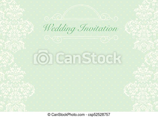 Green Wedding Invitation Card Background Template With Pattern Ornament