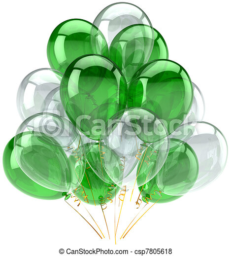 Green white party balloons classic - csp7805618