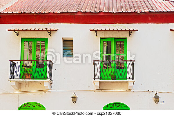 Green windows in old house - csp21027080