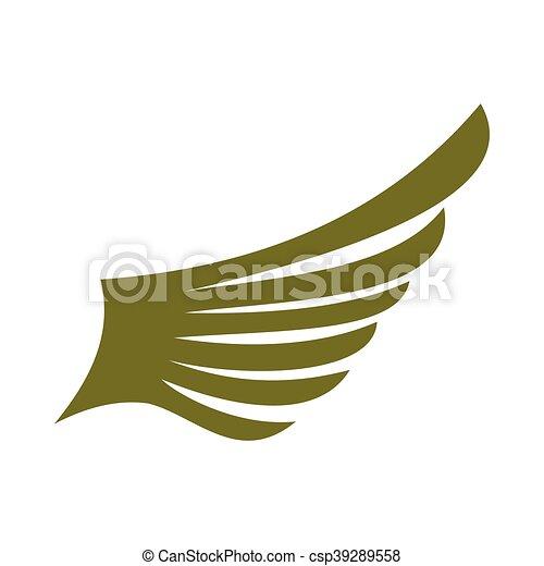 Green wing bird icon, flat style - csp39289558