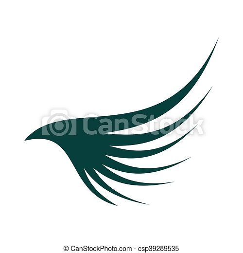 Green wing icon, flat style - csp39289535