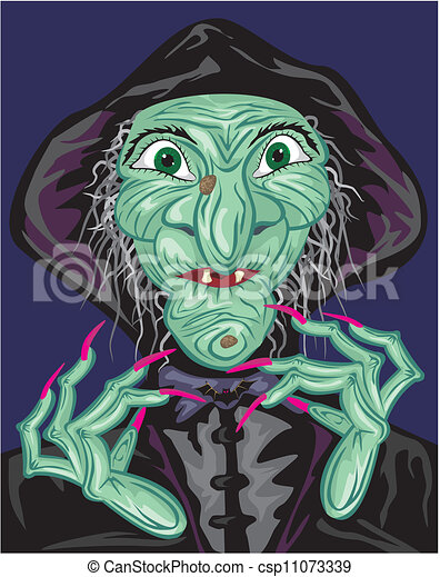 green witch face - csp11073339