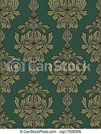 Green With Gold Damask Background