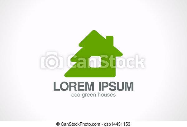 Green wooden eco house logo template. Real estate. - csp14431153