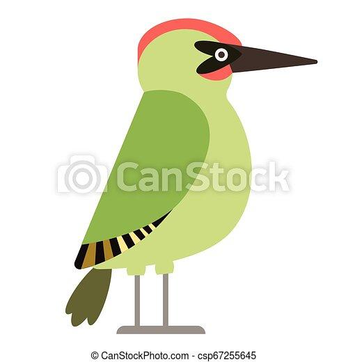 green woodpecker flat illustration - csp67255645