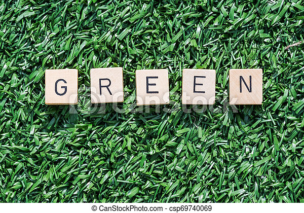 Green word with wood letters on synthetic grass - csp69740069
