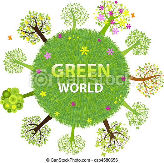 Green World With Trees Isolated On White Background Vector