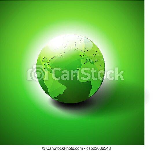 Green World Icon Symbol - csp23686543