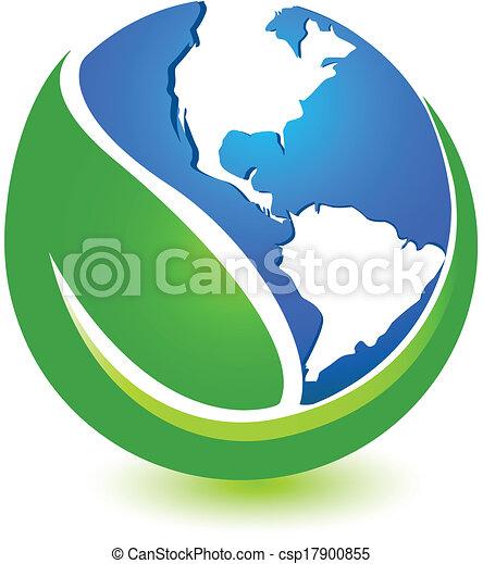 Green world logo design. Green world logo vector design. Green Earth Logo Vector