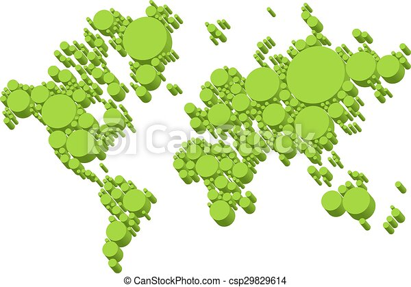 green world map, 3D dots, vector - csp29829614