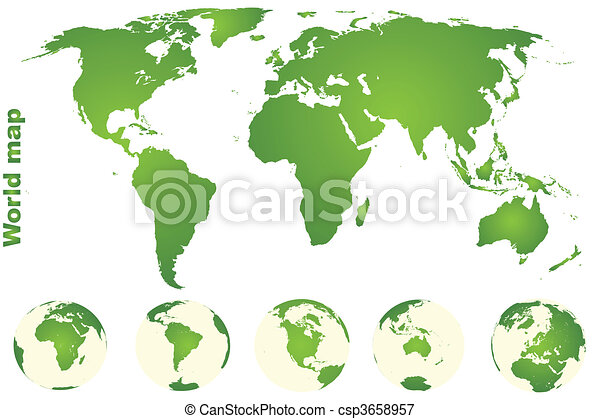 Green world map with earth globes stock illustrations search eps green world map with earth globes csp3658957 gumiabroncs Images