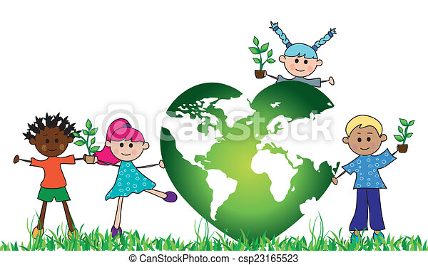 Illustration Of Green World With Children And Plants