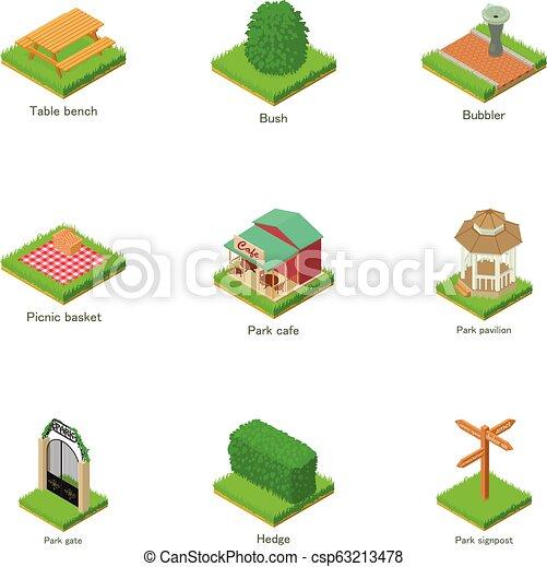 Green yard icons set, isometric style - csp63213478