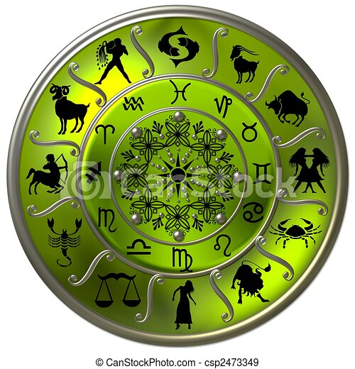Green Zodiac Disc with Signs and Symbols - csp2473349