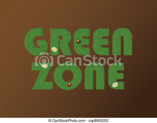 Green zone text with grass - csp8955052