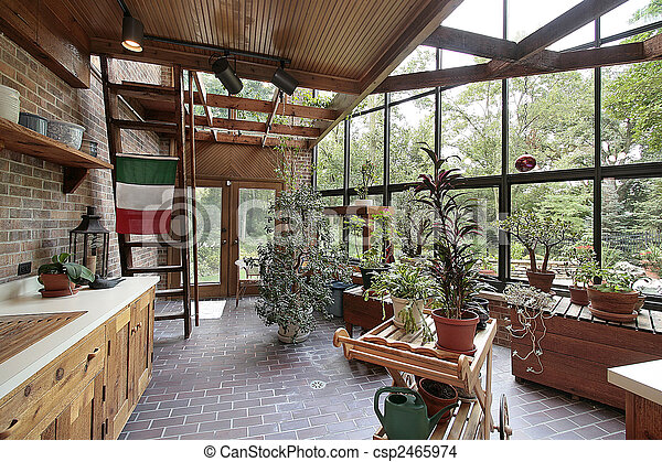 Greenhouse In Large Home Stock Photo