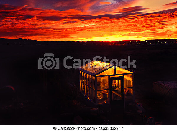Greenhouse Lights at Dawn - csp33832717