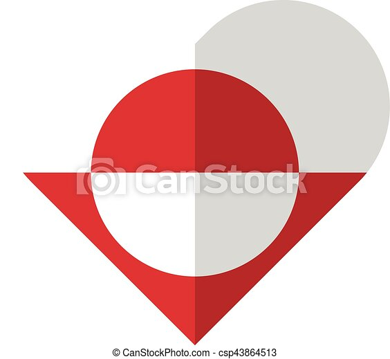 Greenland flat heart flag - csp43864513