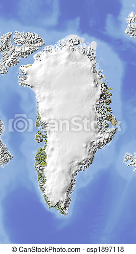 Greenland, shaded relief map. - csp1897118