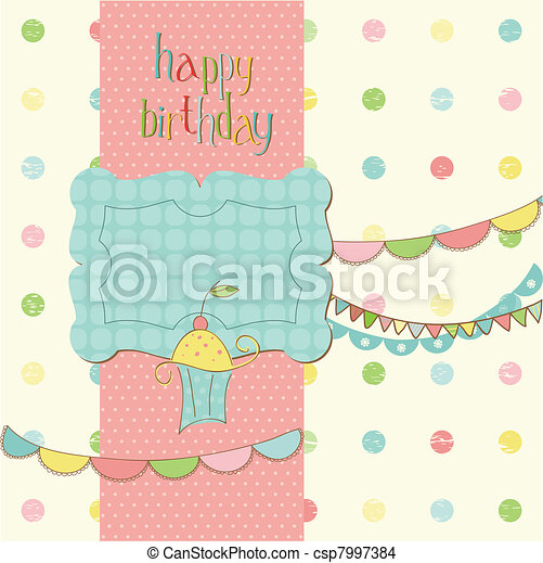 Greeting Birthday Card with Cute cake - with place for your text or photo - csp7997384
