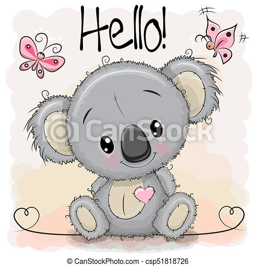 Greeting Card Cute Cartoon Koala With Butterflies