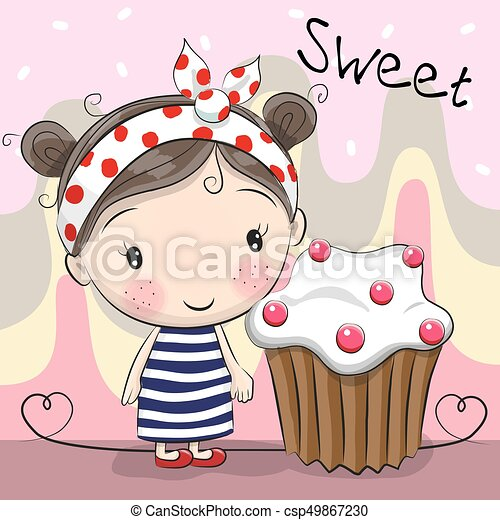 Greeting card Cute Girl with cake - csp49867230