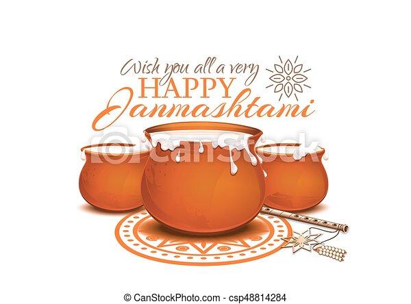Greeting card for Krishna Janmashtami - csp48814284