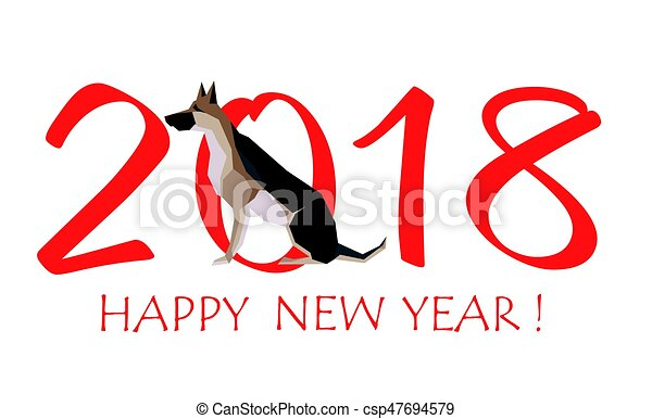 greeting card for new year 2018 with sitting dog german vectors rh canstockphoto com