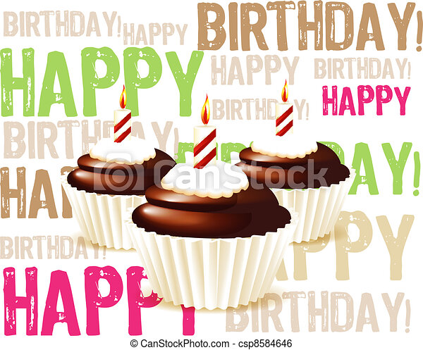 Clip Art Vector of greeting card from chocolate Birthday cupcake – Birthday Greetings Clip Art