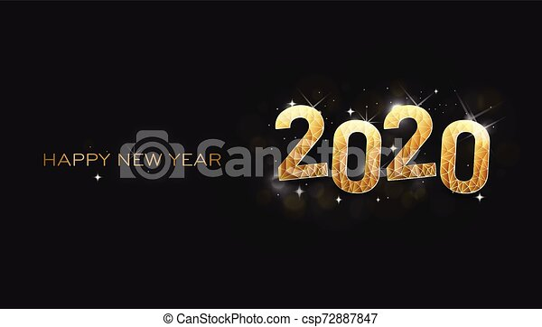 Greeting Card Happy New Year 2020 Shinning Stars Greeting Card Happy New Year 2020 Vector Design Canstock