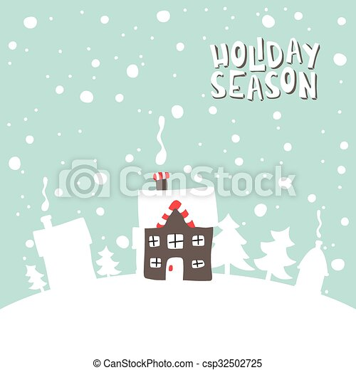 Greeting card. Image gingerbread house on a snowy background. - csp32502725