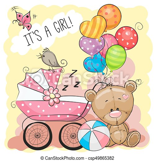 greeting card it is a girl with baby carriage and teddy bear vector rh canstockphoto ie greeting card clip art images diwali greeting card clipart